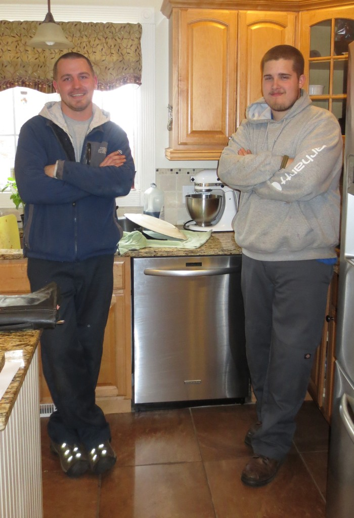 Jon and Brennan from Family Appliance with my new dishwasher.