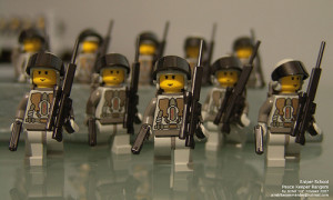 Lego army to signify vaccines.