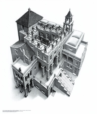Ascending and Descending by MC Escher.  Captures the two steps forward one step back of potty training!