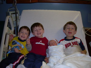 Ages 6, 4, 2 and newborn.