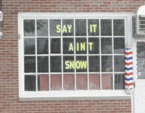 A message from Greg the Barber.  Photo from Wilbraham-Hampden Times.